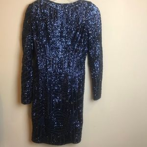 Cache Navy Blue Long Sequin Long Sleeve Dress 2